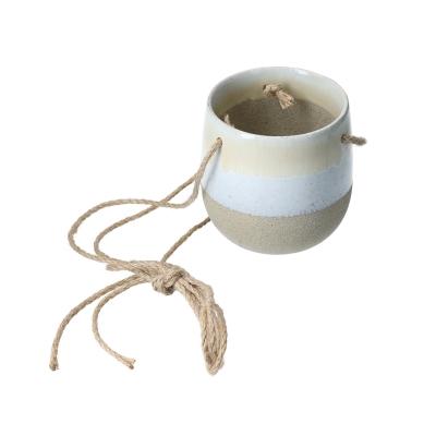 macetero de cerámica crema 6''