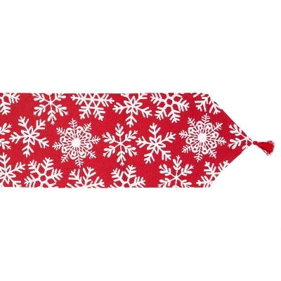 """Camino De Mesa Copo De Nieve Rojo 13"""" x 71"""""""